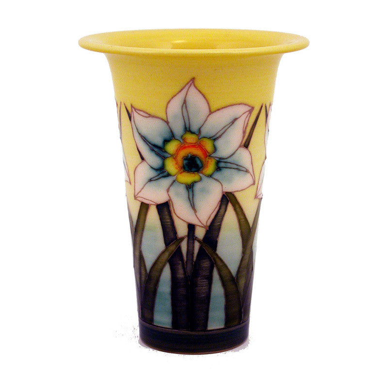 "Dennis Chinaworks Daffodil on White Flute 6"" - uk-art-pottery-test-site"