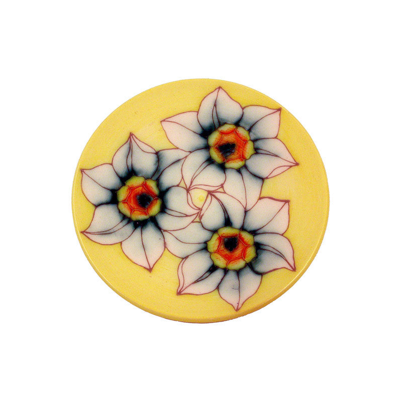 "Dennis Chinaworks Daffodil on White Roundel 6"" - uk-art-pottery-test-site"