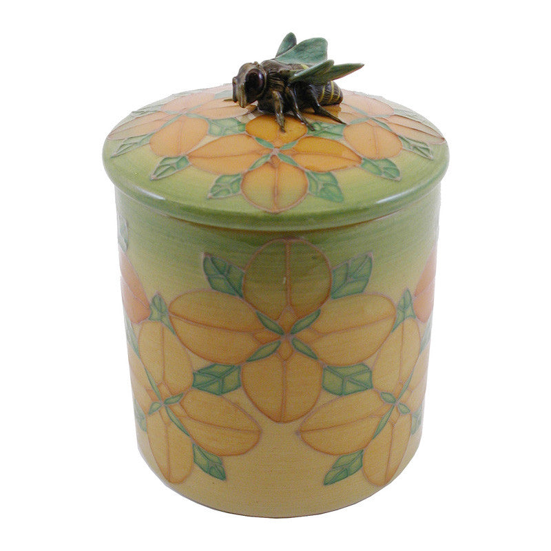 Dennis Chinaworks Dogwood on Yellow Lidded Box 4.5