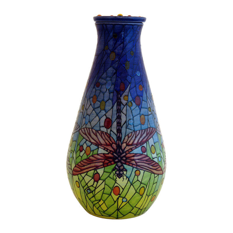 "Dennis Chinaworks Dragonfly Jewelled Flask 12"" - uk-art-pottery-test-site"