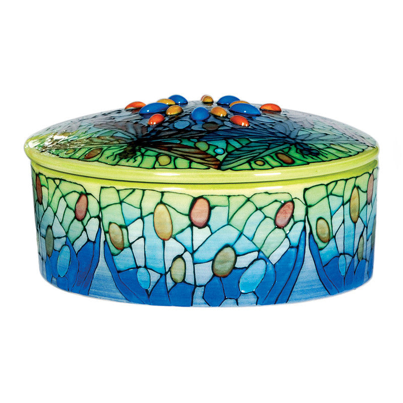 Dennis Chinaworks Dragonfly Jewelled Lidded Box 6.5