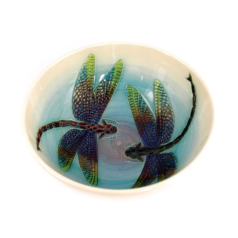 "Dennis Chinaworks Dragonfly Natural Bowl 8"" - uk-art-pottery-test-site"