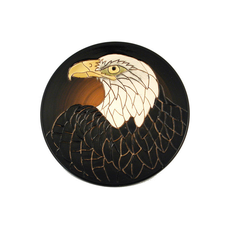 "Dennis Chinaworks Eagle on Black Roundel 6"" - uk-art-pottery-test-site"