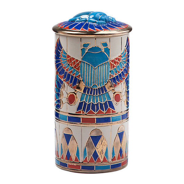 "Dennis Chinaworks Egyptian Scarab Lustre Lidded Box 8"" - uk-art-pottery-test-site"