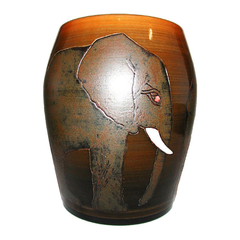 "Dennis Chinaworks Elephant African Barrel 8"" - uk-art-pottery-test-site"