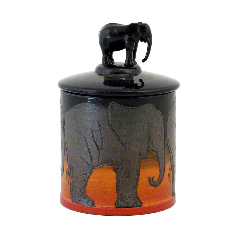 "Dennis Chinaworks Elephant African Lidded Box 3.75"" - uk-art-pottery-test-site"