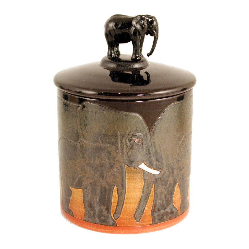 "Dennis Chinaworks Elephant African Lidded Box 4.5"" - uk-art-pottery-test-site"