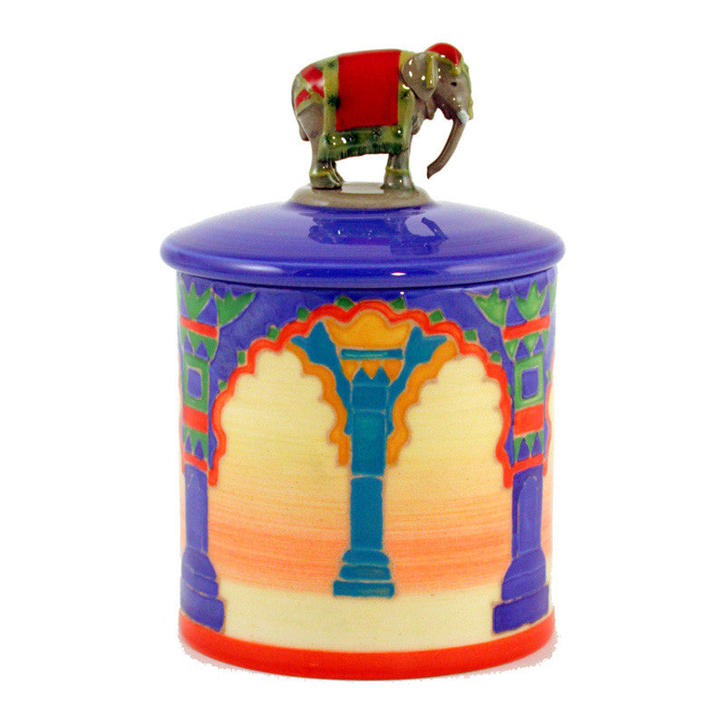 "Dennis Chinaworks Elephant Indian Arch Lidded Box 3.75"" - uk-art-pottery-test-site"