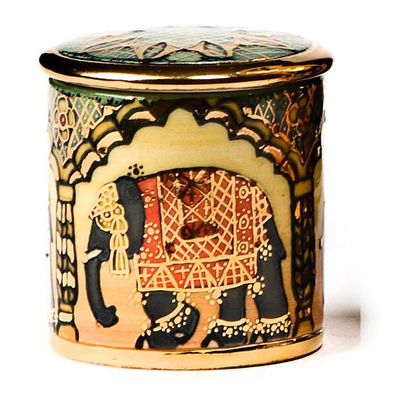 Dennis Chinaworks Elephant Indian Lustred Lidded Box 2.5