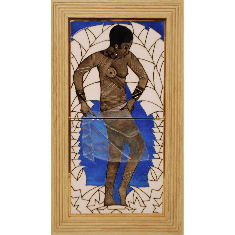 "Dennis Chinaworks Fashion Josephine Baker Blue Tile 14"" - uk-art-pottery-test-site"