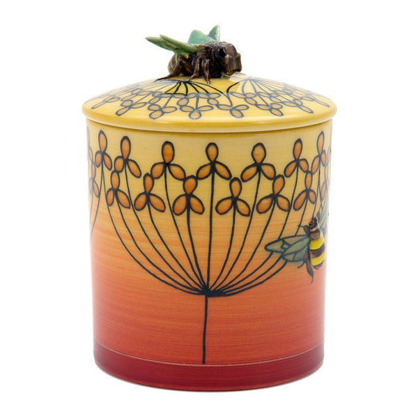 Dennis Chinaworks Fennel and Bee on Yellow Lidded box 4.5