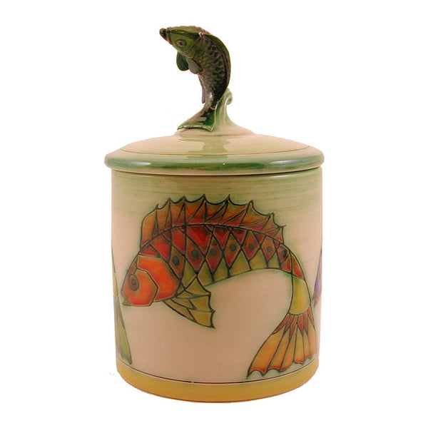 "Dennis Chinaworks Fish Zigzag 2006 Lidded Box 4.5"" - uk-art-pottery-test-site"