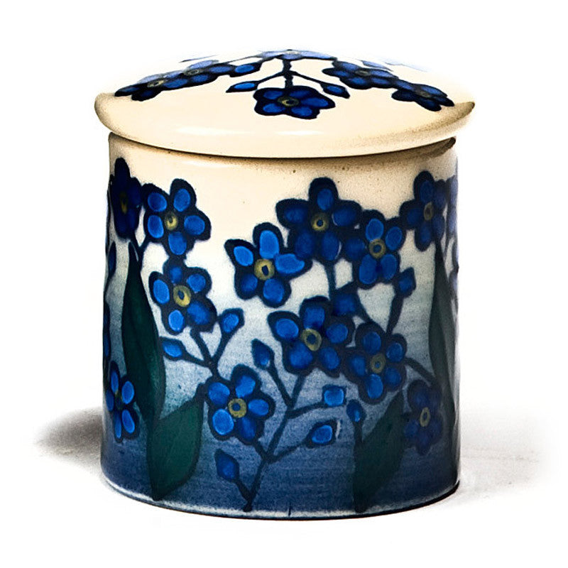 Dennis Chinaworks Forget-me-not Blue on white Lidded Box 2.5