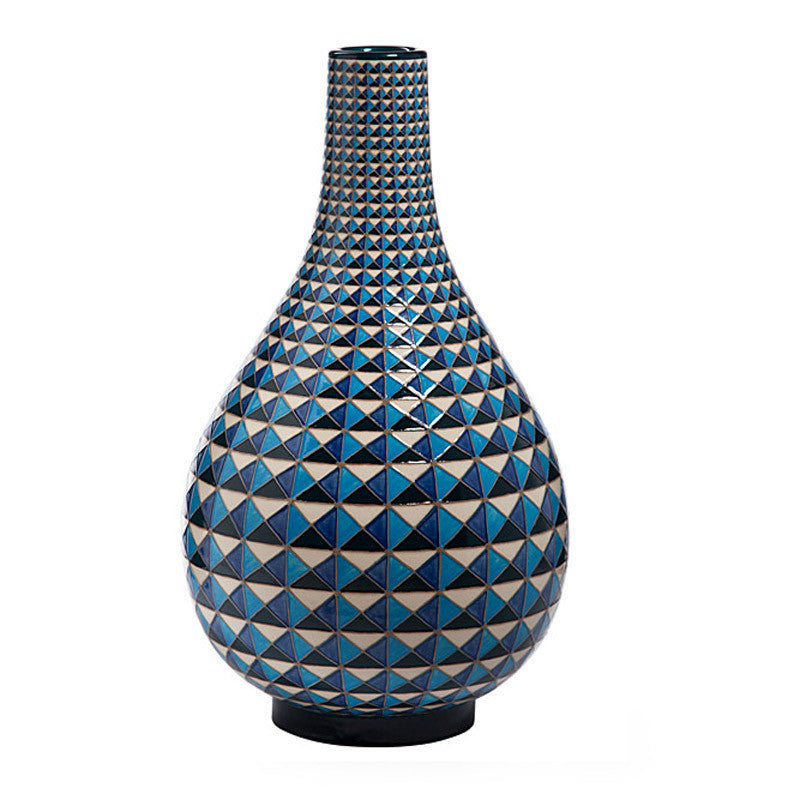 Dennis Chinaworks Geometric Multi Faceted Blue Bottle 14
