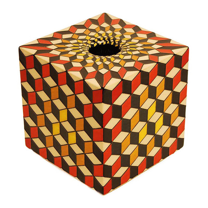 Dennis Chinaworks Geometric Tumbling Block red Cube 6