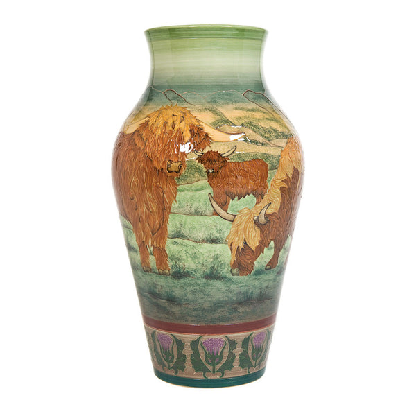 Dennis Chinaworks Highland Cattle Landscape Baluster 14