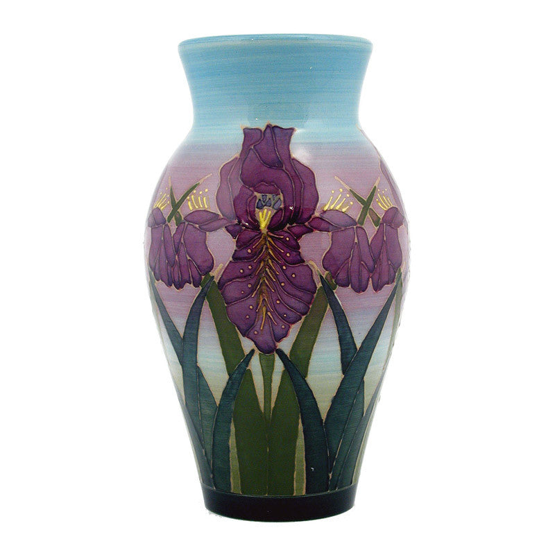 "Dennis Chinaworks Iris on Blue Baluster 8"" - uk-art-pottery-test-site"