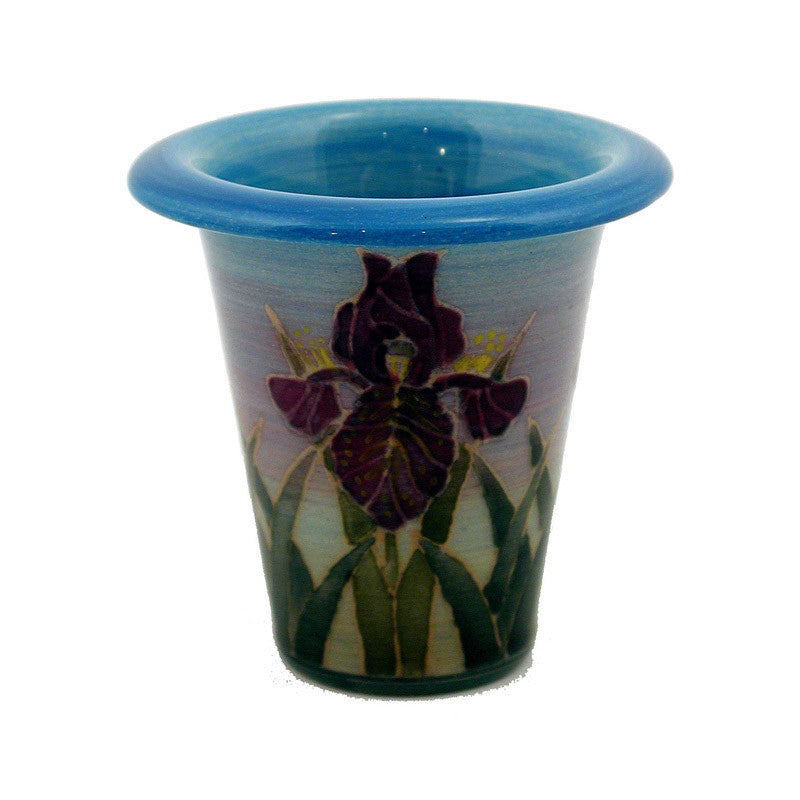 "Dennis Chinaworks Iris on Blue Flute 2.5"" - uk-art-pottery-test-site"