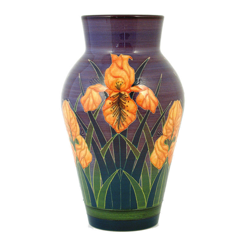 "Dennis Chinaworks Iris on Orange Baluster 10"" - uk-art-pottery-test-site"
