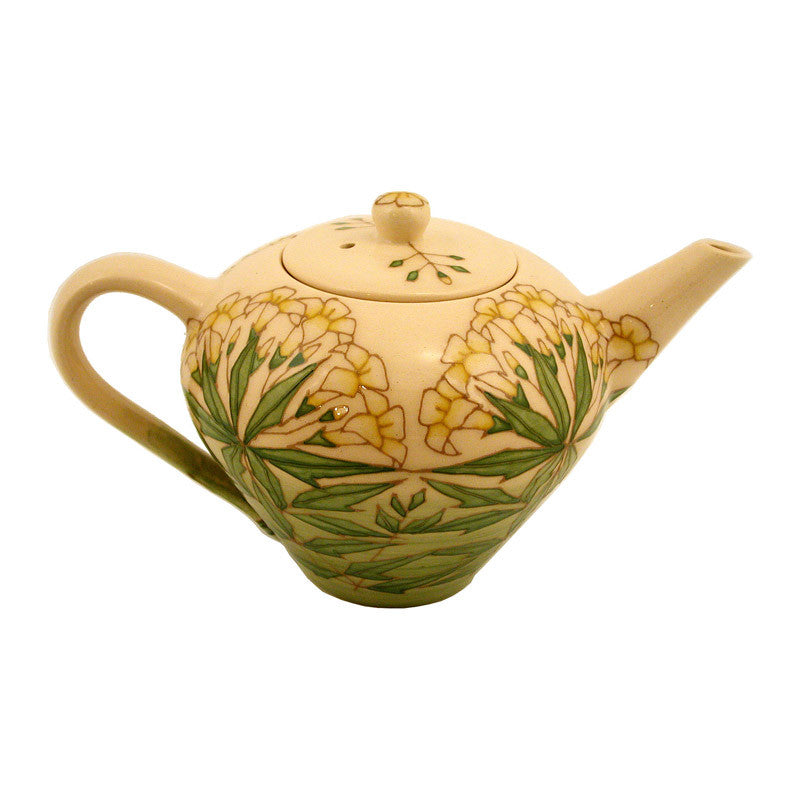 "Dennis Chinaworks Jasmine on Green Teapot 5.75"" - uk-art-pottery-test-site"