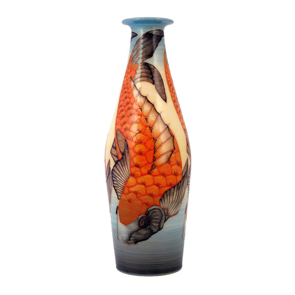 "Dennis Chinaworks Koi Carp Standard Bottle 13"" - uk-art-pottery-test-site"