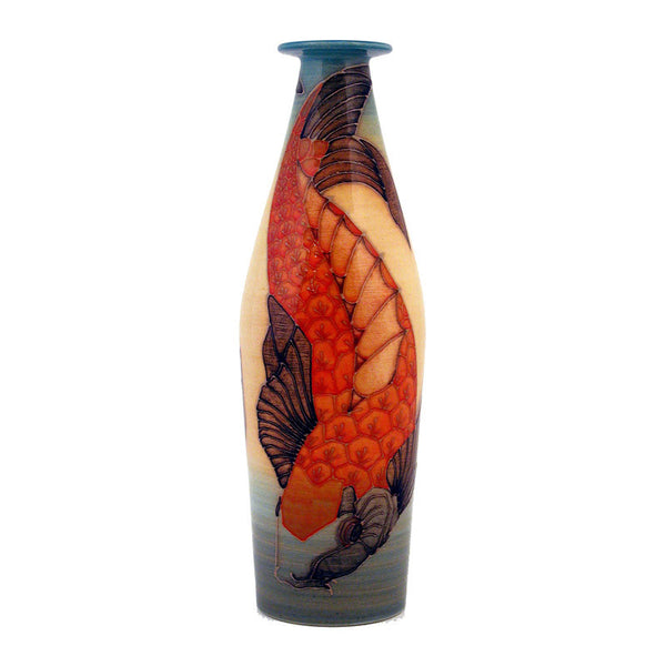"Dennis Chinaworks Koi Carp Standard Bottle 10"" - uk-art-pottery-test-site"