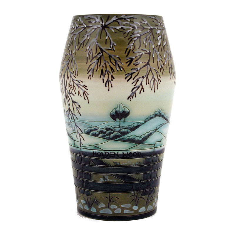 "Dennis Chinaworks Landscape Winter Barrel 8"" - uk-art-pottery-test-site"