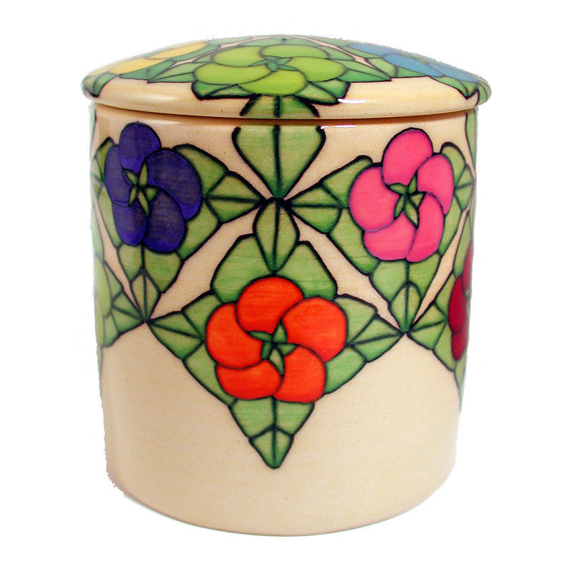 "Dennis Chinaworks Multi Flower Natural Lidded Box 4.5"" - uk-art-pottery-test-site"