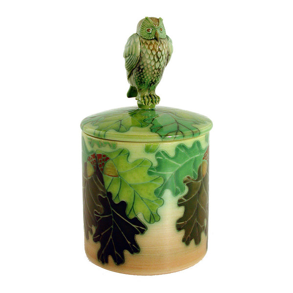 Dennis Chinaworks Owl on Green Lidded Box 4.5