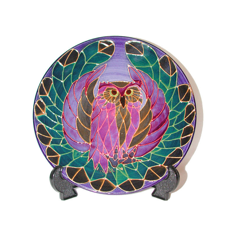 "Dennis Chinaworks Owl on Navy Plate 10"" - uk-art-pottery-test-site"