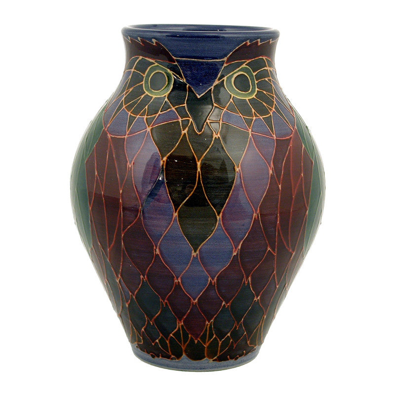 "Dennis Chinaworks Owl on Navy Vase 9"" - uk-art-pottery-test-site"
