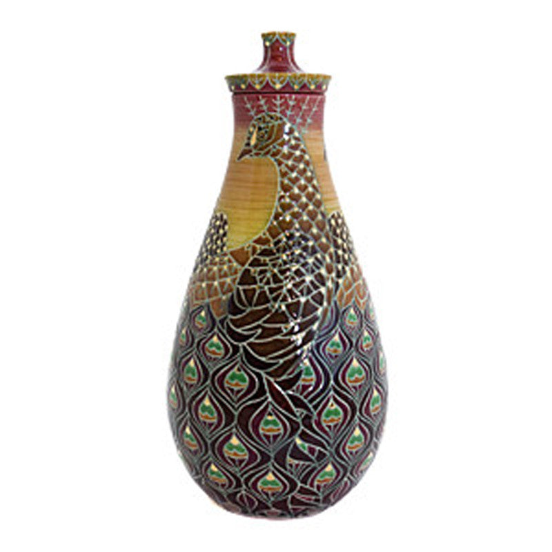 "Dennis Chinaworks Peacock Lustred Flask 8.5"" - uk-art-pottery-test-site"