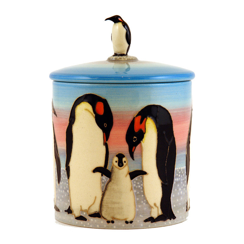 "Dennis Chinaworks Penguin On light blue Lidded Box 6"" - uk-art-pottery-test-site"