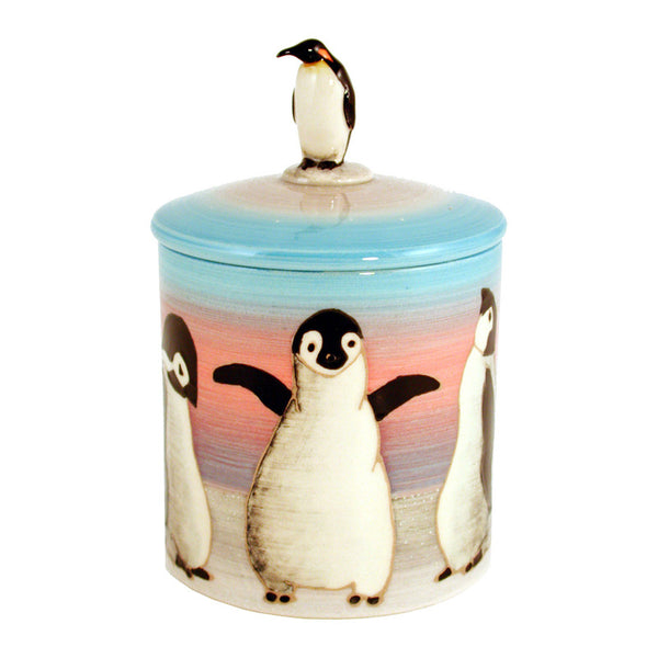 Dennis Chinaworks Penguin On light blue Lidded Box 4.5