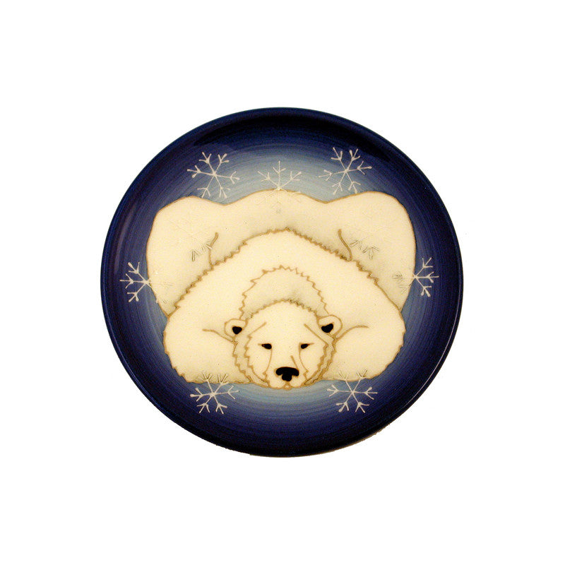 "Dennis Chinaworks Polar Bear on Blue Roundel 6"" - uk-art-pottery-test-site"