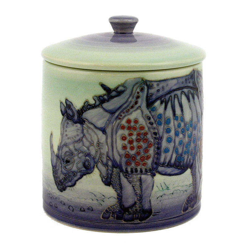 "Dennis Chinaworks Rhino After Durer Lidded Box 6"" - uk-art-pottery-test-site"