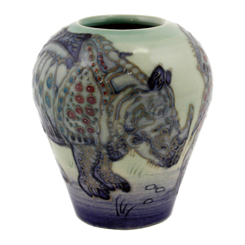"Dennis Chinaworks Rhino After Durer Ovoid 3.5"" - uk-art-pottery-test-site"