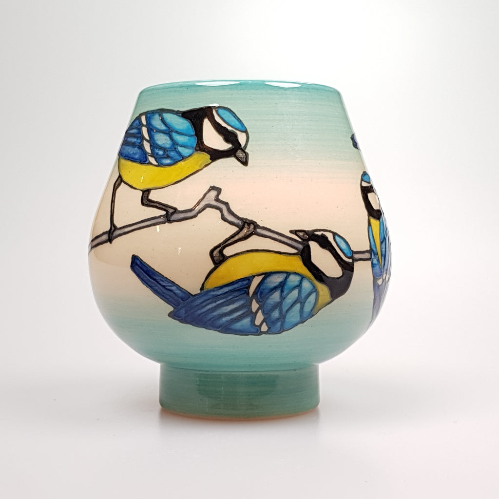 Dennis Chinaworks Sally Tuffin designed  Blue Tit Vase - uk-art-pottery-test-site