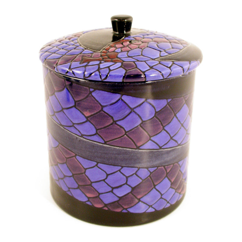 "Dennis Chinaworks Snake on Navy Lidded Box 4.5"" - uk-art-pottery-test-site"