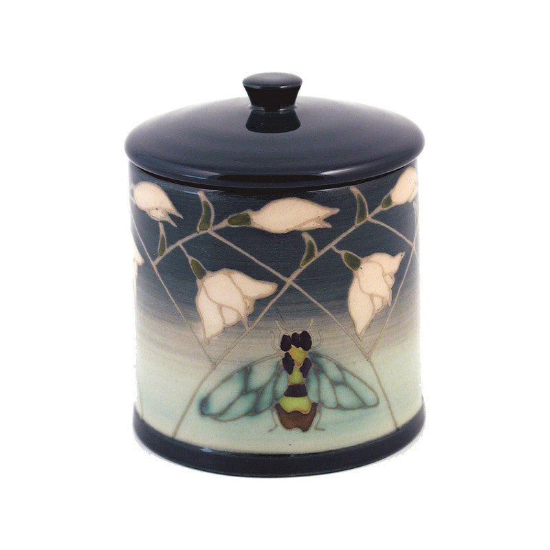 Dennis Chinaworks Snowdrop and Bee Green 1st version Lidded Box 3.75
