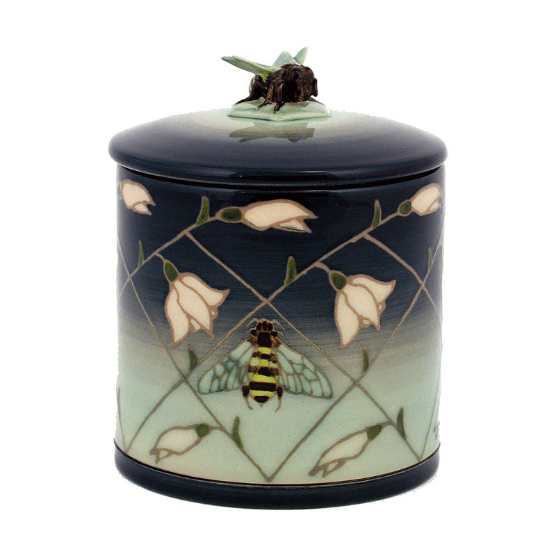 "Dennis Chinaworks Snowdrop and Bee on Green Lidded Box 6"" - uk-art-pottery-test-site"