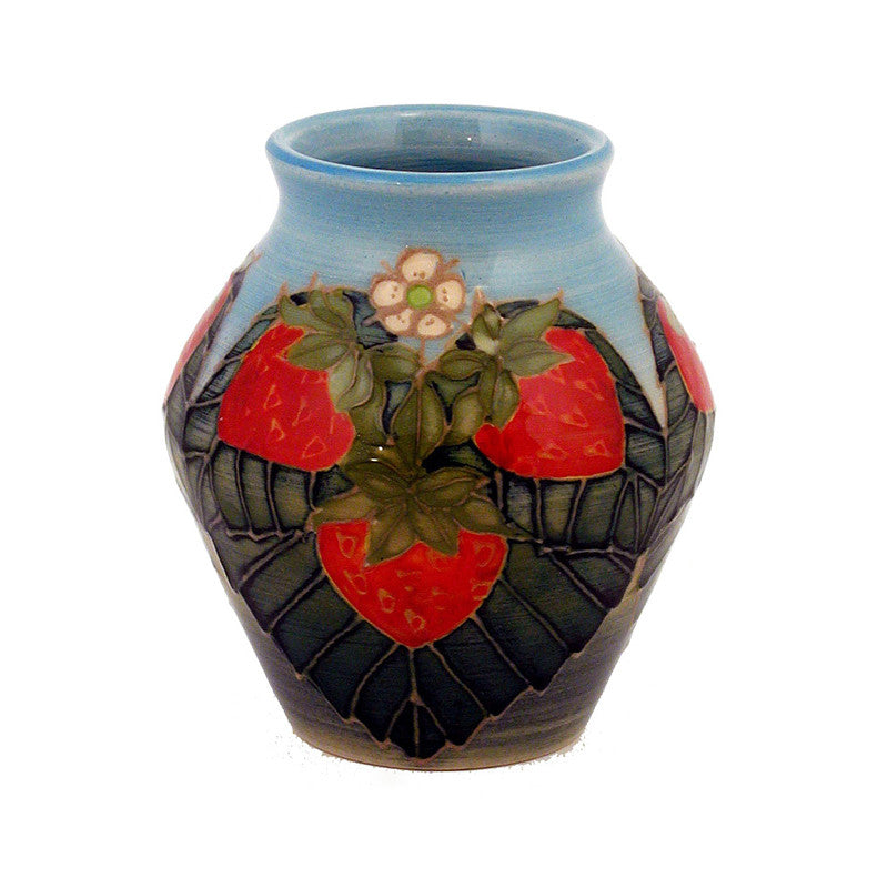 "Dennis Chinaworks Strawberry Natural Vase 3.75"" - uk-art-pottery-test-site"