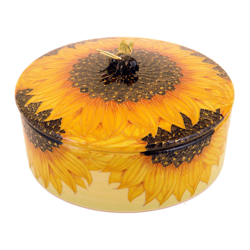 "Dennis Chinaworks Sunflower With Bee Lidded box 6.5"" - uk-art-pottery-test-site"