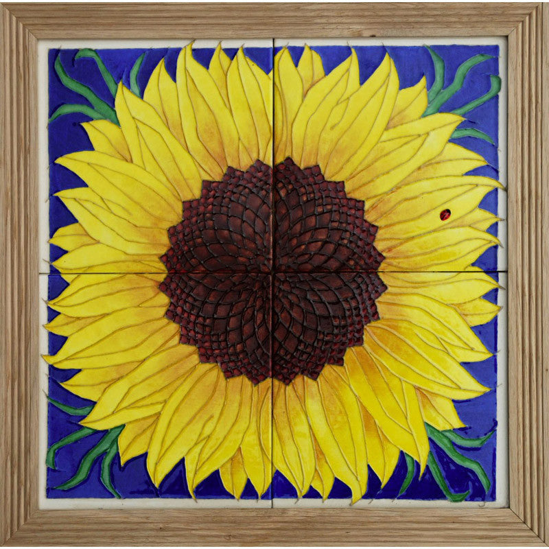"Dennis Chinaworks Sunflower Yellow on Blue Tile 14"" - uk-art-pottery-test-site"