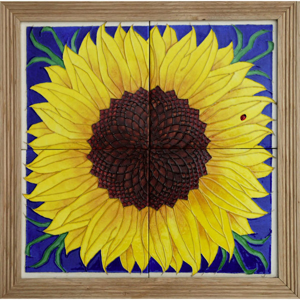 Dennis Chinaworks Sunflower Yellow on Blue Tile 14