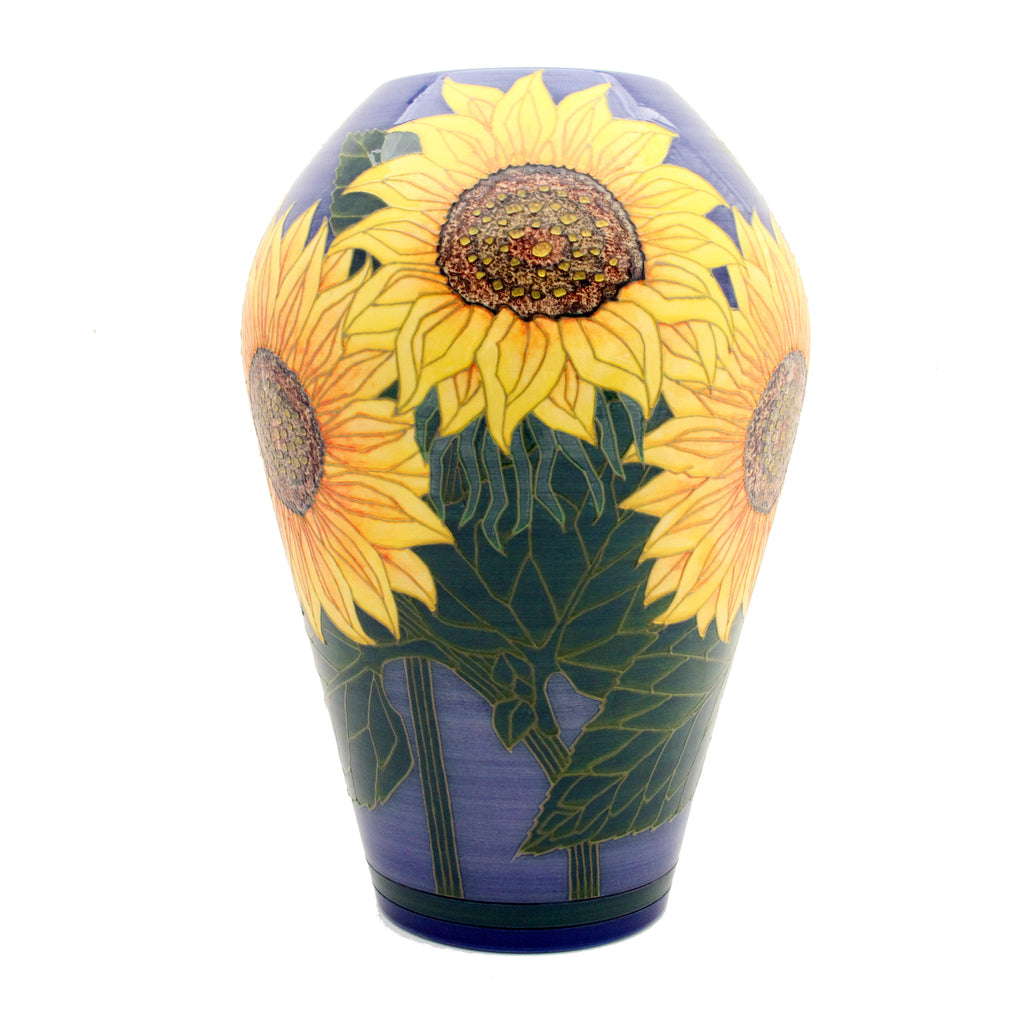 "Dennis Chinaworks Sunflower Yellow on Blue Ovoid 16"" - uk-art-pottery-test-site"