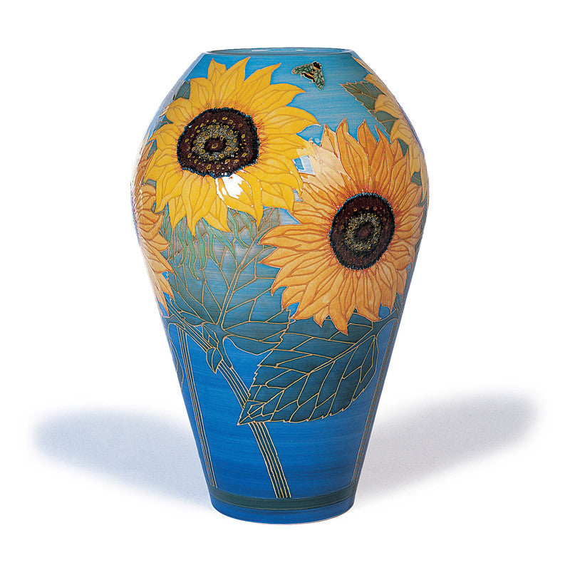 "Dennis Chinaworks Sunflower Yellow on Turquoise Ovoid 19"" - uk-art-pottery-test-site"