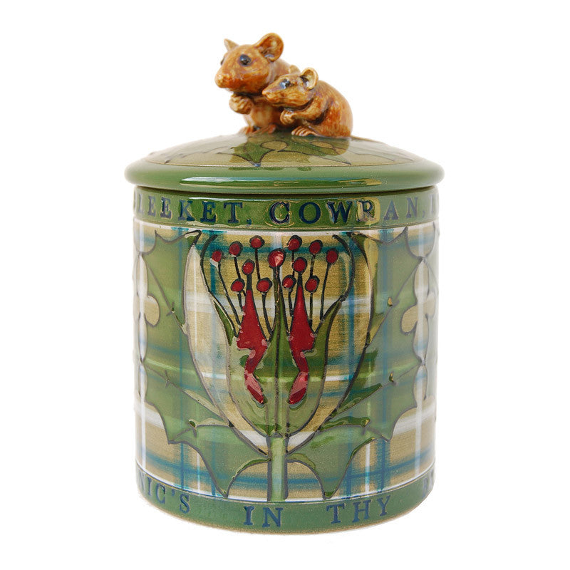 "Dennis Chinaworks Tartan with mouse Lidded Box 4.5"" - uk-art-pottery-test-site"
