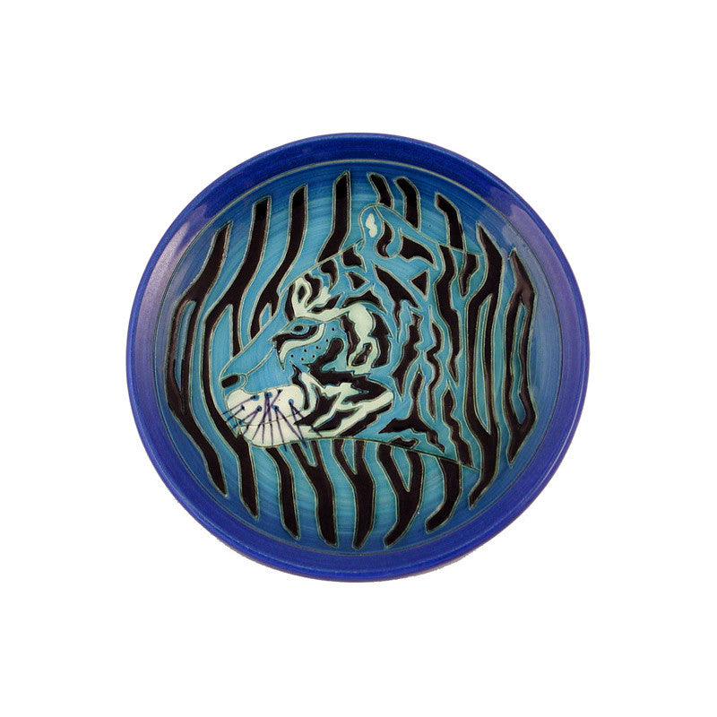 "Dennis Chinaworks Tiger on Blue roundel 6"" - uk-art-pottery-test-site"