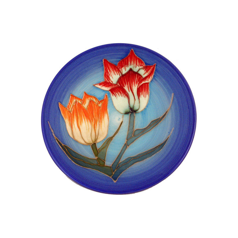 "Dennis Chinaworks Tulip on Blue Roundel 6"" - uk-art-pottery-test-site"